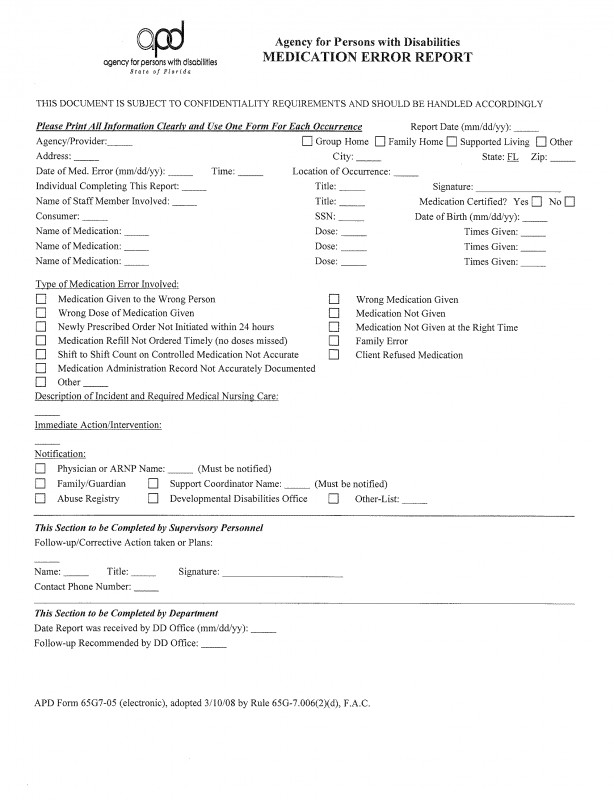 Medication Incident Report form Template New Apd Med Management