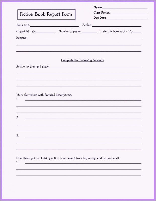 Middle School Book Report Template New 3rd Grade Book Report Template Free Fabulous Book Report Outline 5th
