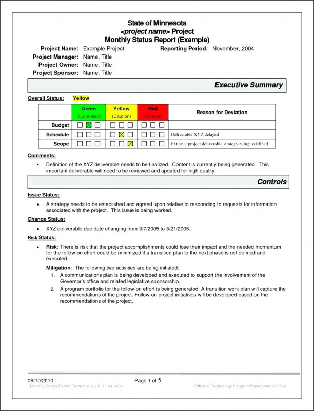Month End Report Template New Project Management Project Management Report Template Project