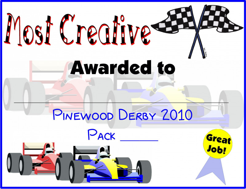 graphic regarding Free Printable Pinewood Derby Certificates identify Pinewood Derby Certification Template Great Templates Programs