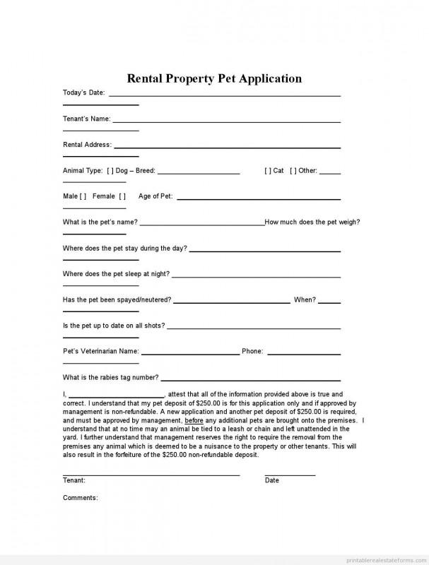 Real Estate Report Template Unique Printable Rental Property Pet Application Template 2015 Sample