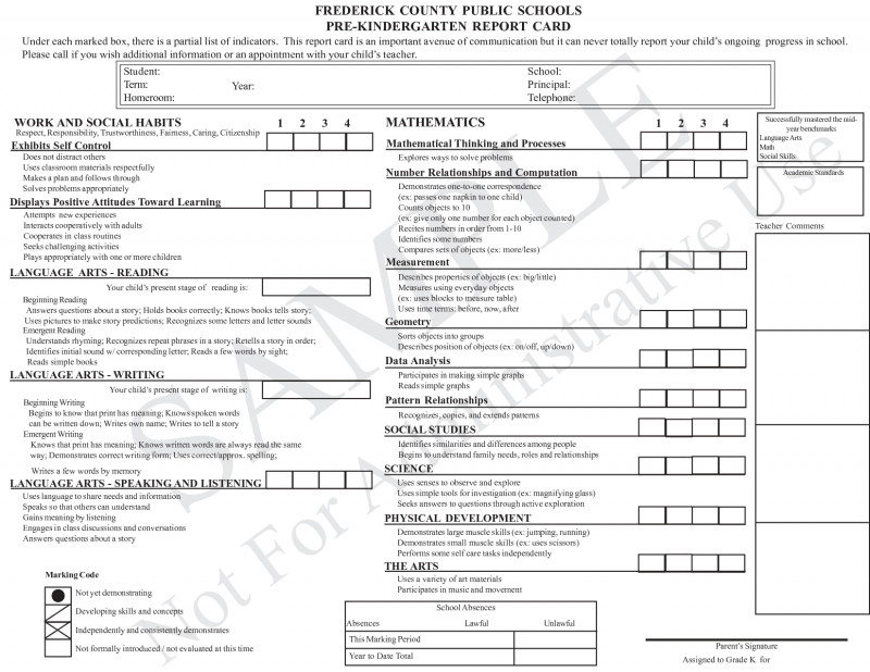Report Card Template Pdf New Kindergarten Common Core Report Card Wiring Diagram Database