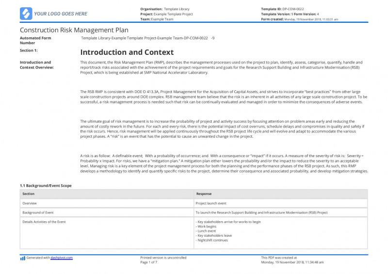 Risk Mitigation Report Template Professional 039 Plan Templates Risk Mitigation Template Construction Management