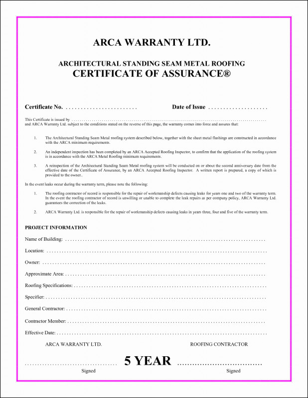 Roof Inspection Report Template Professional Metal Roofing Warranty Roofing Certificate Pletion Template Lovely