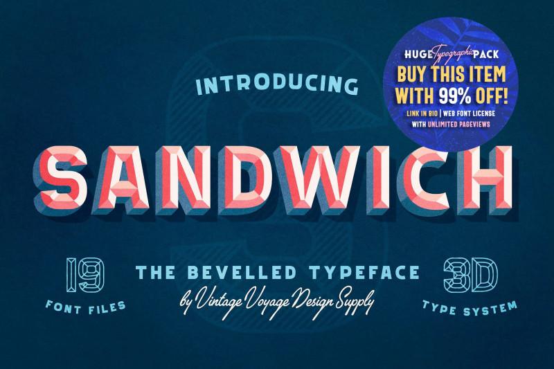 Sandwich Book Report Template New Sandwich • 50 • Bevelled 3d Type Display Fonts Creative Market