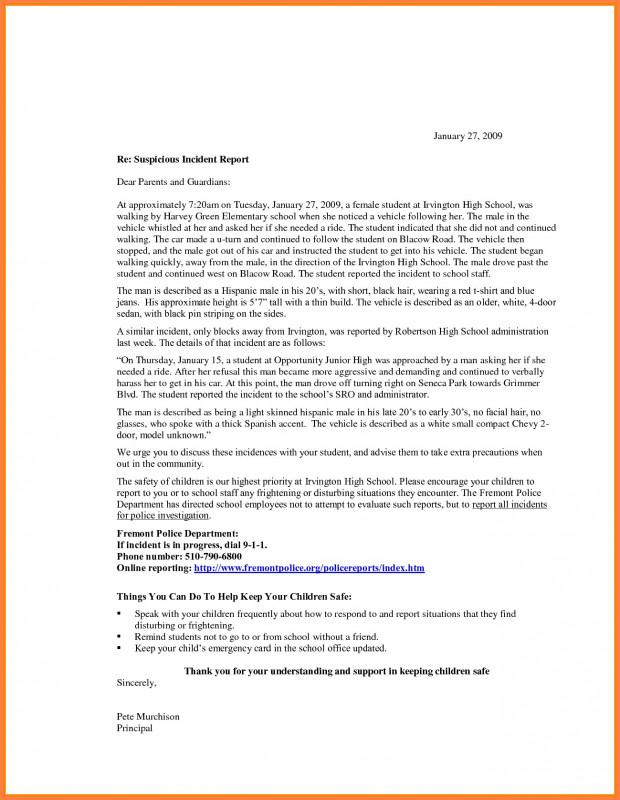 School Incident Report Template Unique Incident Report Letter Examples New Examples An Incident Report