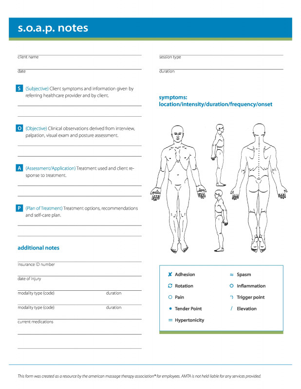 Soap Report Template New soap Note Template Massage therapy Save Template