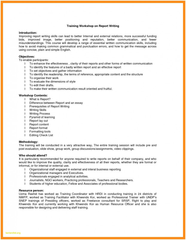 Training Report Template format Professional Training Workshop Report Sample Glendale Community
