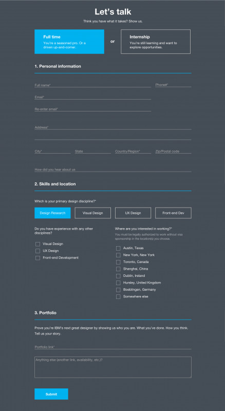 Ux Report Template Awesome Ibm Designs Contact form Web form form