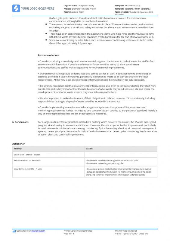 Waste Management Report Template Unique Audit Report Sample Meetpaulryan