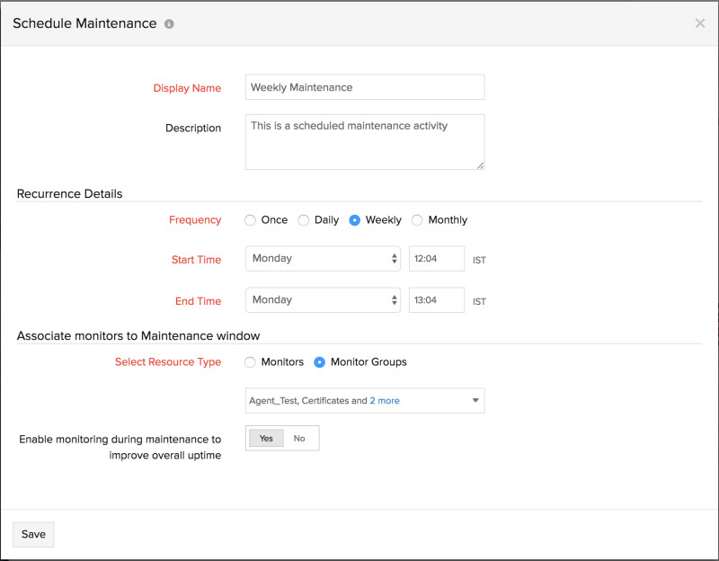 Weekly Test Report Template Unique Scheduled Maintenance Online Help Site24x7
