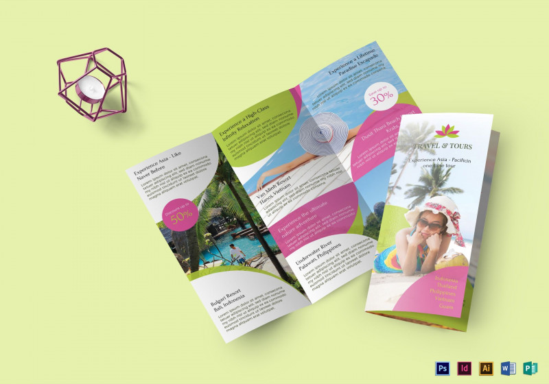 Brochure 3 Fold Template Psd New Travel And Tour Brochure Design Template In Psd Word Publisher