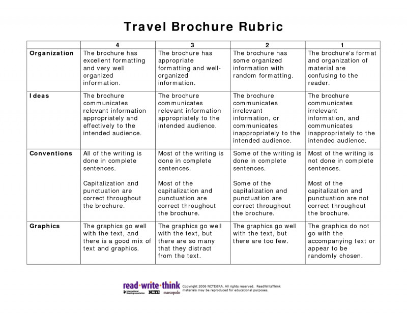 Brochure Rubric Template Awesome 010 Travel Brochure Template For Students Shocking Ideas Pdf