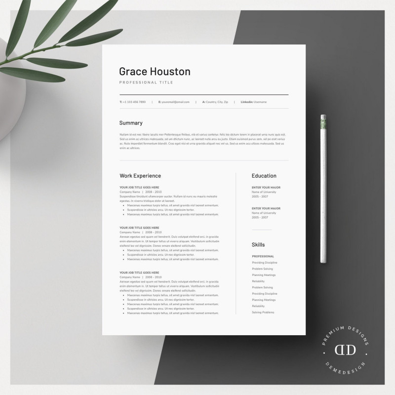 Brochure Templates for Word 2007 New Clean Modern Resume Template 3 Page Cv Template Cover Etsy