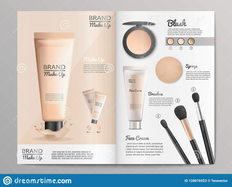Healthcare Brochure Templates Free Download New Cosmetics Products Catalog or Brochure Template Stock Vector