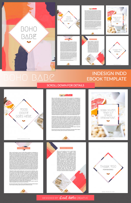 Indesign Templates Free Download Brochure Awesome Boho Babe Indesign Ebook Template By Coral Antler Creative On