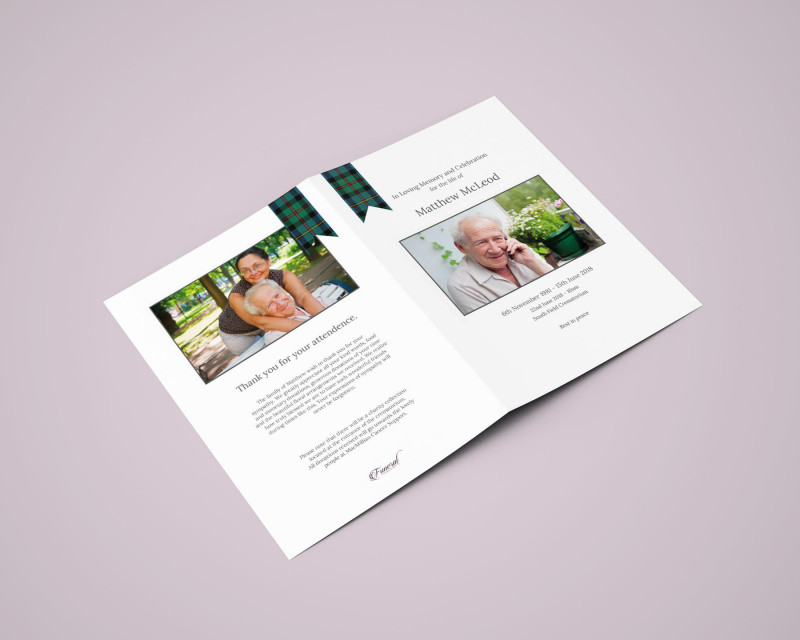 Quad Fold Brochure Template Awesome Tartan Funeral order Of Service 4 Page