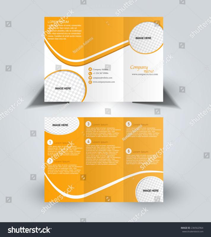 Quad Fold Brochure Template New Trifold Business Brochure Leaflet Template orange Stock Vector