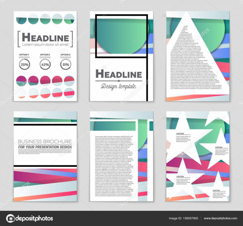 Quad Fold Brochure Template Unique Abstract Vector Layout Background Set for Art Template Design