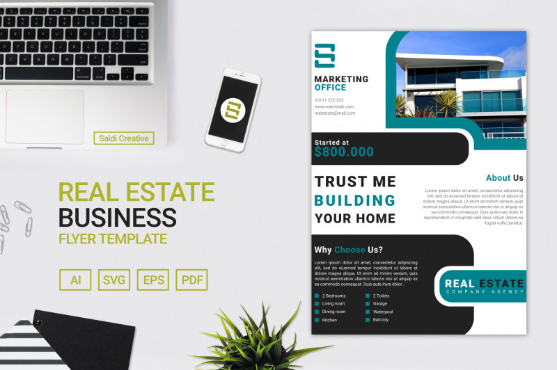 Real Estate Brochure Templates Psd Free Download Awesome Real Estate Business Flyer Template Vector Design A4 Size