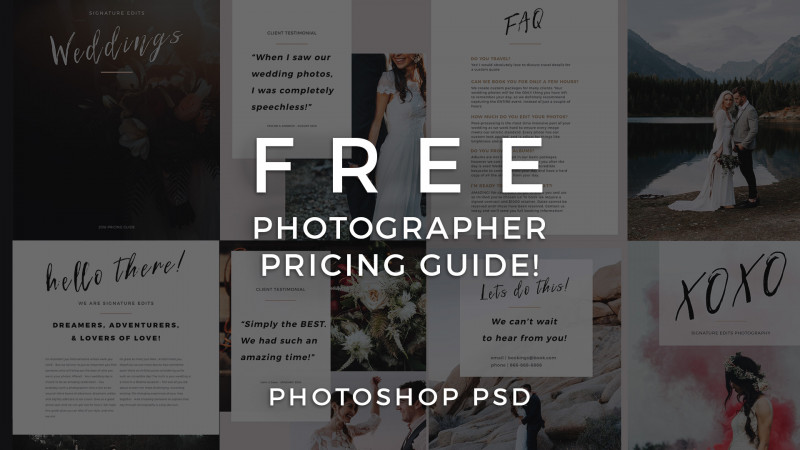 Single Page Brochure Templates Psd New Free Photographer Pricing Guide Template Signature Edits Edit
