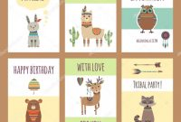 Zoo Brochure Template Awesome Tribal Animals Cards Cute Zoo Characters Squirrel Llama Hare Fox