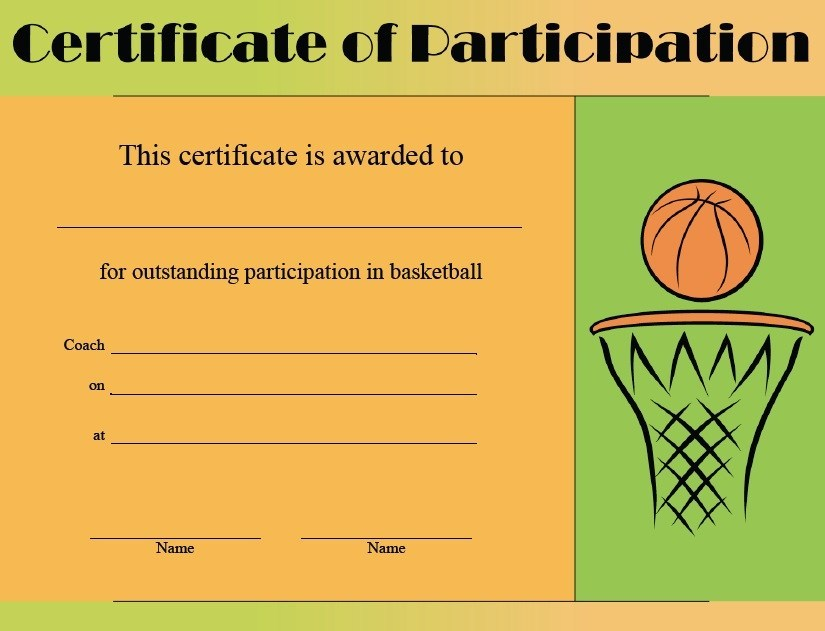 Basketball Camp Certificate Template 0