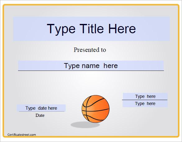 Basketball Camp Certificate Template 5