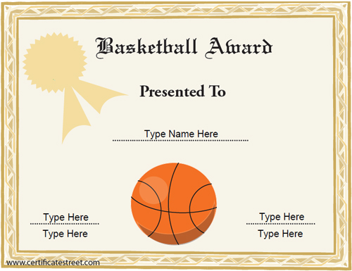 Basketball Certificate Template 8