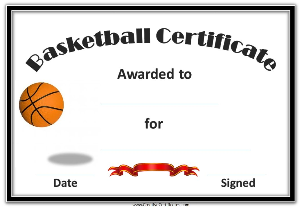 Basketball Certificate Template 9