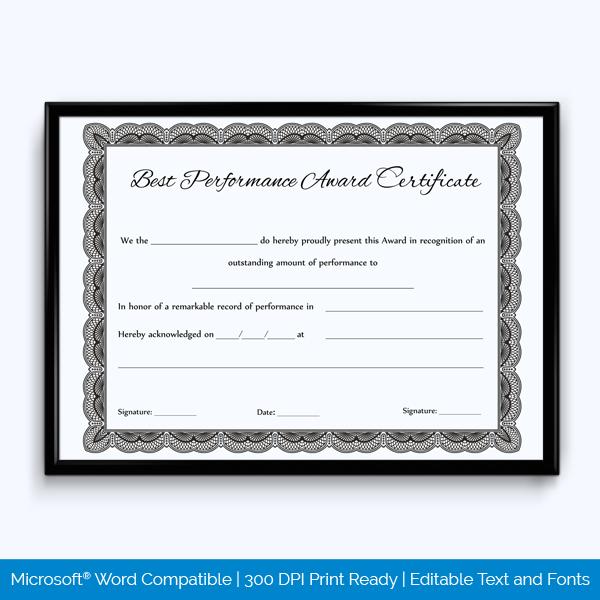 Best Performance Certificate Template 4