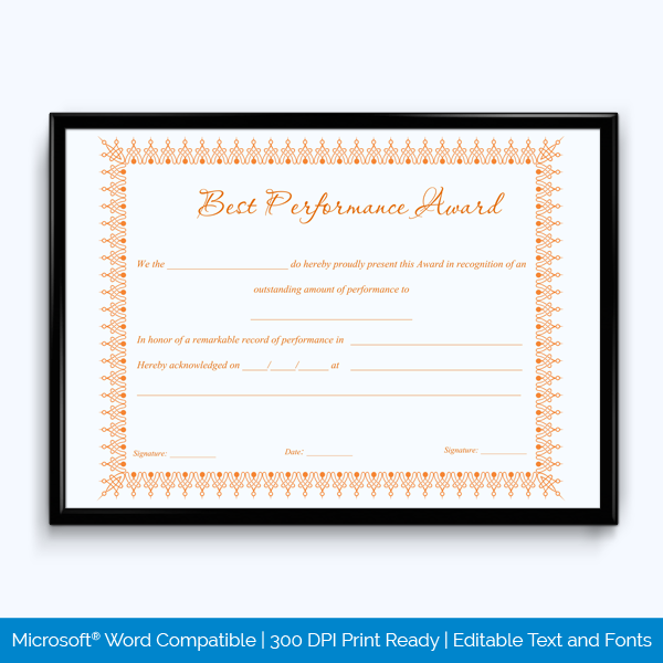 Best Performance Certificate Template 5