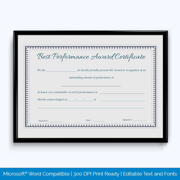 Best Performance Certificate Template 6