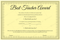 Best Teacher Certificate Templates Free 8