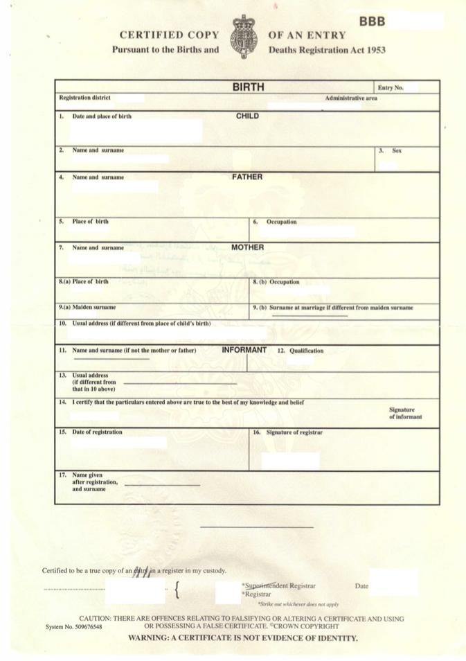Birth Certificate Template Uk 2