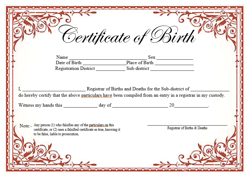 Birth Certificate Template For Microsoft Word 2