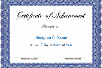 Blank Award Certificate Templates Word 2
