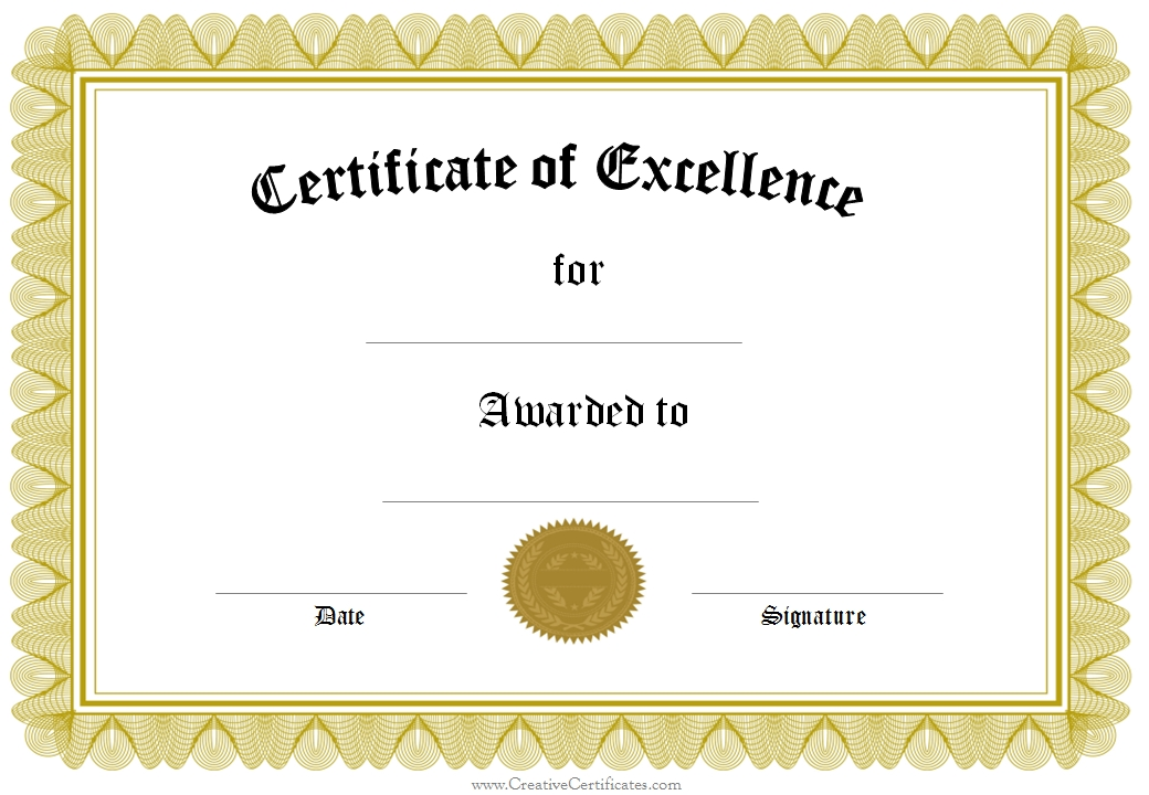 Blank Award Certificate Templates Word 4