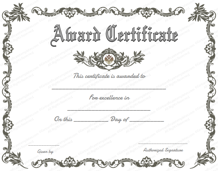 Blank Award Certificate Templates Word 8