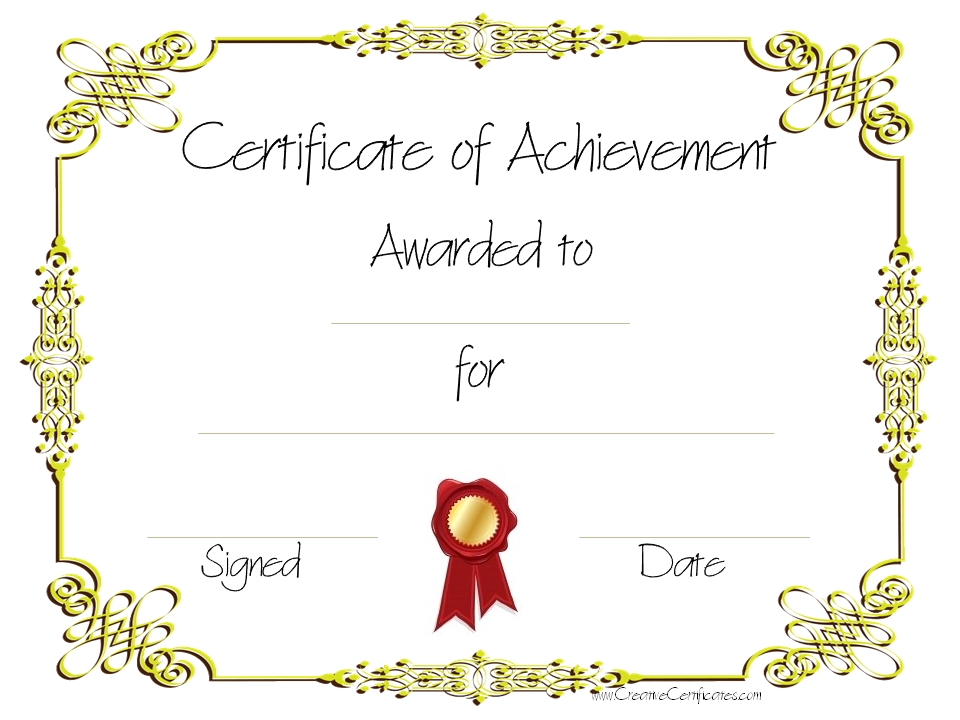 Blank Certificate Of Achievement Template 8
