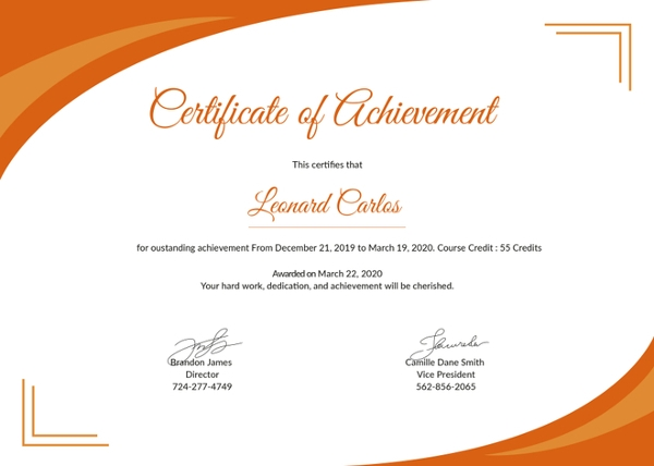 Blank Certificate Of Achievement Template 9