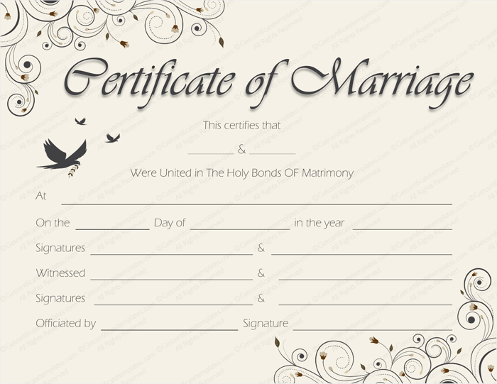 Blank Marriage Certificate Template 3