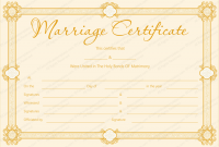 Blank Marriage Certificate Template 4