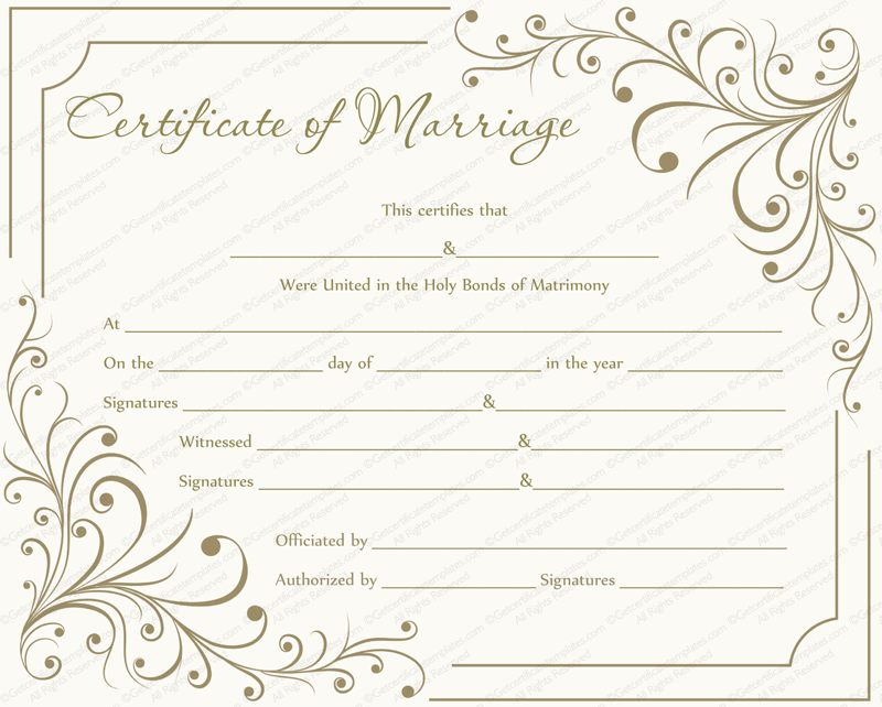 Blank Marriage Certificate Template 7