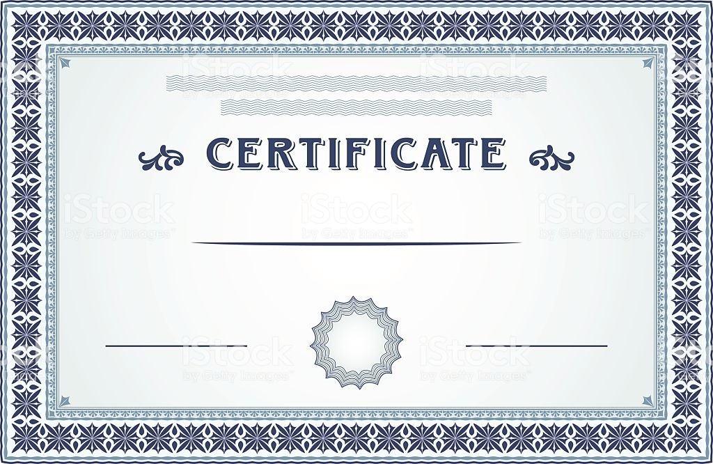 Unique Certificate, Diploma Or Coupon Design In Dark And Light Blue Colors