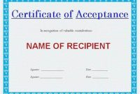 Certificate Of Acceptance Template 5