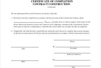 Certificate Of Completion Template Construction 5