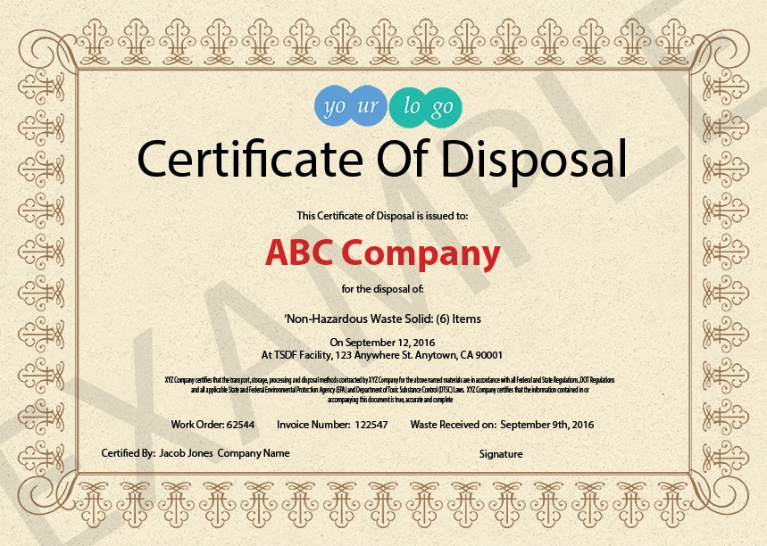 Certificate Of Disposal Template 3