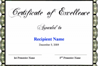Certificate Of Excellence Template Word 10