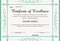 Certificate Of Excellence Template Word